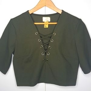 H&M GOLD LABEL Plunging V-Neck Lace Up Cro…